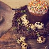 easter livstid fortfarande Påskkaka, ägg, påskkanin, påskkort arkivbilder