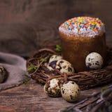 easter livstid fortfarande Påskkaka, ägg, påskkanin, påskkort royaltyfri foto