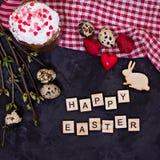 easter livstid fortfarande Påskkaka, ägg, påskkanin, påskkort royaltyfri fotografi