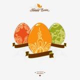 Easter logo, emblem with ribbon. Stock Image