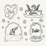 Easter logo set in vintage style. Hand drawn Royalty Free Stock Images