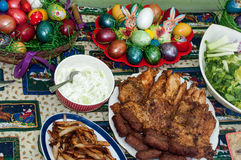 Easter lunch with meat and eggs on the table.  Royalty Free Stock Photography