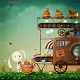 Easter Machine. Holiday greeting card or poster for Easter production and painting machine Easter Egg. Computer graphics.n stock illustration