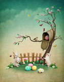 Easter mailbox. Beautiful spring illustration with mailbox for greeting card or background Easter. Computer graphics stock illustration