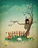 Easter mailbox. Beautiful spring illustration with mailbox for greeting card or background Easter. Computer graphics royalty free illustration