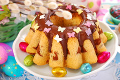 Easter marble ring cake with butterfly sprinkles Stock Photography