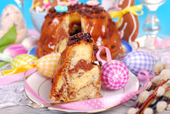 Easter marble ring cake with chocolate flakes Royalty Free Stock Images