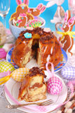 Easter marble ring cake with chocolate flakes Stock Photo