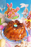 Easter marble ring cake with chocolate flakes Stock Photography