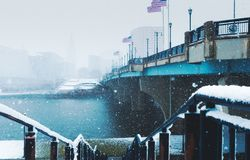 Nor`easter march 13 2018 in Hartford Connecticut New England. White out conditions during blizzard in winter in Hartford Connecticut looking at Connecticut river Royalty Free Stock Image