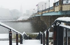 Nor`easter march 13 2018 in Hartford Connecticut New England. White out conditions during blizzard in winter in Hartford Connecticut looking at Connecticut river Stock Photos