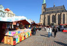 The Easter market in the Pilsen city. Stock Image