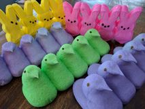 Easter marshmallow peeps Royalty Free Stock Photography