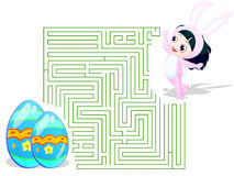 Easter Maze. Maze theme for Easter. includes clipping path for select, and one with solution Royalty Free Stock Images