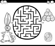 Easter maze activity for coloring Royalty Free Stock Images