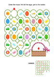 Easter maze game with basket. Easter egg hunt themed maze game with basket, painted eggs, fresh green grass, flowers. Answer included vector illustration