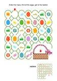 Easter maze game with basket vector illustration