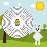 Easter maze (solution in eps). Easter maze with bunny trying to find his Easter egg - in EPS with solution Stock Photo