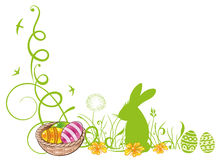 Easter, meadow, bunny. Colorful easter tendril with easter eggs and easter bunny Stock Photography