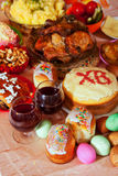Easter meal. Easter table with celebrate cakes  and other meal Royalty Free Stock Photography