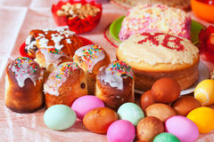 Easter meal. Easter cakes and eggs on festive table Royalty Free Stock Images