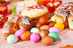Easter meal. Easter cakes and eggs on festive table Royalty Free Stock Image