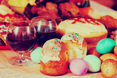 Easter meal. Easter cakes and other meal on festive table Royalty Free Stock Photos