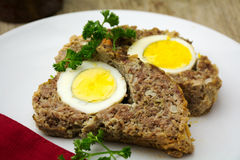 Easter meal, meatloaf bread with boiled eggs inside Royalty Free Stock Image