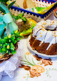 Easter meal on table, cake, eggs. Basket stock photo