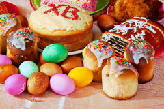 Easter meal. Easter table with celebrate cakes  and other meal Stock Images