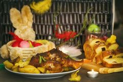 Easter Meal Table. Easter Meal Decorated Table With Eggs and Meat royalty free stock image