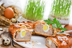 Easter meatloaf ring with quail eggs Royalty Free Stock Photo
