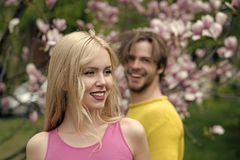 Easter, man and woman in spring. royalty free stock image