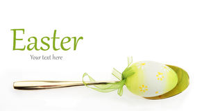 Easter menu. Spoon with Easter egg Royalty Free Stock Photography