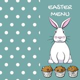 Easter menu design with rabbit and muffins in vector EPS8 stock illustration