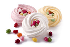 Easter meringue with jelly beans Royalty Free Stock Image