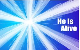 The Easter Message ` He Is Alive` bursting through a blue sky. He is Alive written in the sky for all to see with a burst of light against a blue sky Royalty Free Stock Image