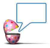 Easter Message. Concept as an open festive decorated spring egg with a talking bubble on a white background as a symbol for seasonal advertising and marketing Royalty Free Stock Photos