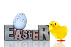 Easter metal letterpress and chick Stock Photos