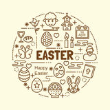 Easter minimal thin line icons set. Vector illustration design elements Royalty Free Stock Images