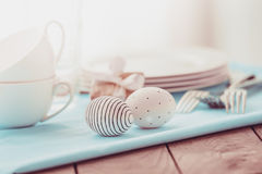 Easter. Modern painted easter eggs on wooden table. Toned picture royalty free stock images