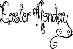 Easter Monday text sign illustration. On white Background Stock Images