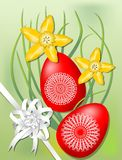 Easter motif with yellow daffodils, two colored eggs and ribbon Stock Photo