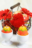Easter motive. With eggs and candle Stock Image