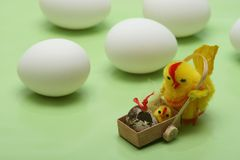 Easter motive. Hen and her chick,white eggs on green background Royalty Free Stock Photo