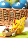 Easter motive. Hen and her chick with easter eggs Royalty Free Stock Photos