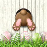 Easter motive, bunny bottom andeaster eggs in fresh grass on white wooden background, illustration Stock Photos