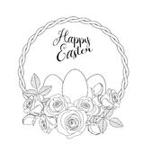 Easter motive with white eggs and roses, illustration Stock Photo