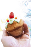 Easter muffin with sugar icing Stock Photography