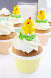 Easter Muffins And Chickens Stock Photo
